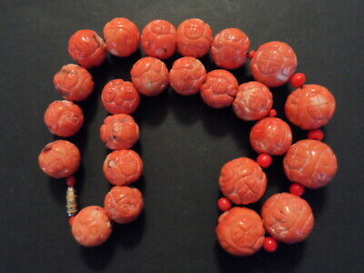 Superb Antique Old Genuine Natural Carved Undyed Red Coral Bead Chinese Necklace