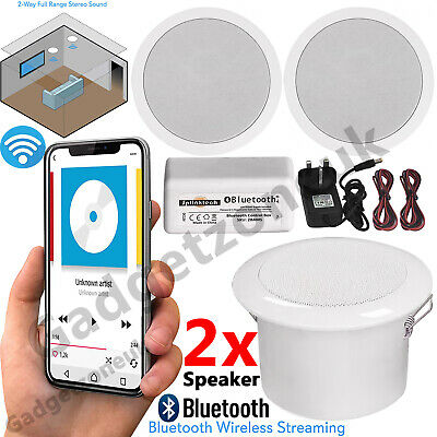 30W Wireless Bluetooth Ceiling Speakers and Amplifier System Kitchen or Bathroom