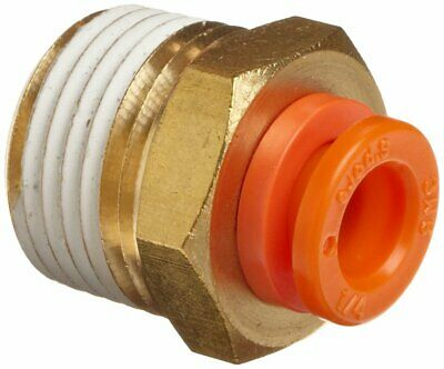 "SMC Brass Push-to-Connect Tube Fitting Adapter 1/4""Tube OD x 1/8""MNPT"