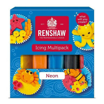 Renshaw Neons Ready To Roll Icing Multipack Colour Fondant Sugarpaste 5 x 100g