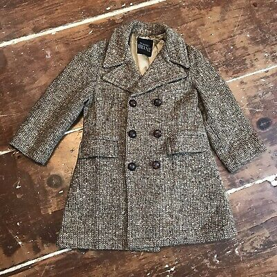 Vintage 70s Wool Tweed Overcoat Boys Youth 5 Geoffrey Beene Belted Jacket