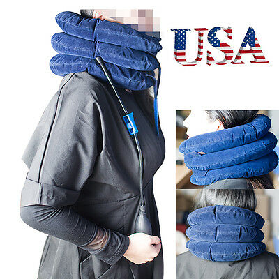 US Neck Pillow Cervical Air Inflatable Head Traction pain Relief Therapy Tool CE