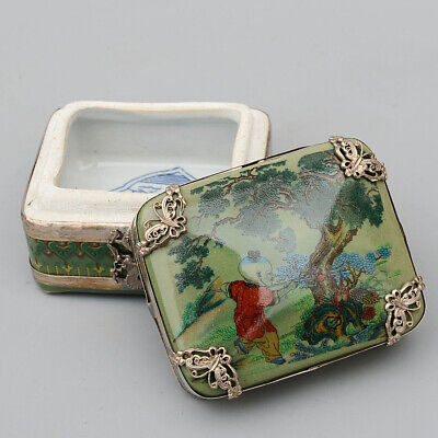 Collectable China Handwork Miao Silver Porcelain Carve Children Fish Jewelry Box