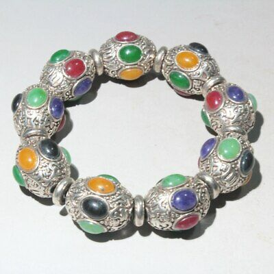 Collectable China Tibet Silver Handwork Carve Colored Agate Noble Rare Bracelets