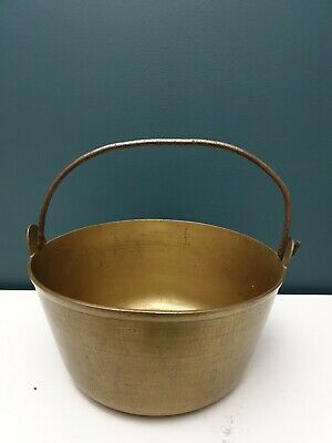 Antique Heavy Brass Pail Bucket with Wrought Iron Handle