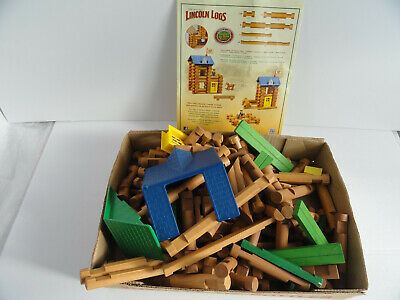 150 pc Lincoln Logs Roof Gables Window Door Flag Wood HorseShoe Hill Station