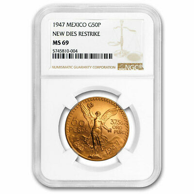 1947 Mexico Gold 50 Pesos MS-69 NGC (New Dies Restrike) - SKU#208193
