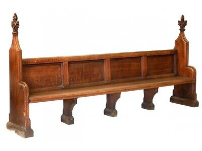 Magnificent Mid 19th Century Antique Oak Hand Carved Gothic Church Pew