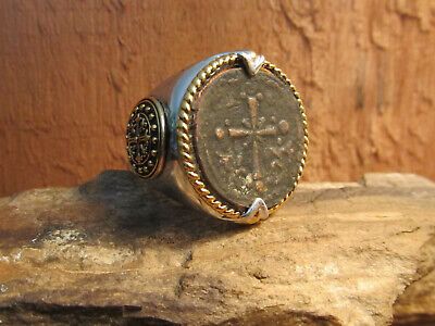 Ancient Byzantine Bronze Coin King of Kings Mens size 11  Ring!