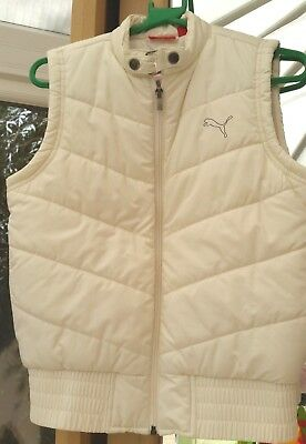 NEW Puma Waistcoat Gilet Vest Womens Girls Ladies Cream Oat Size 8