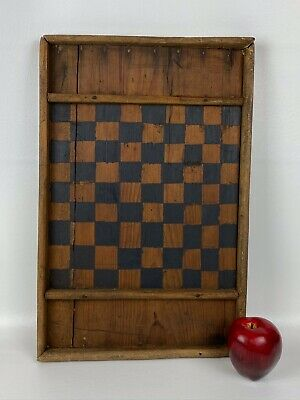 Antique Wooden Checkers Chess Board – Primitive Pine Painted Gameboard - AAFA