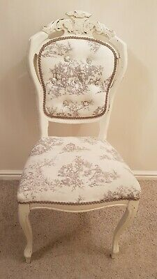 Shabby Chic Painted Toile de Jouy French Louis Chair Colour Cream / Ivory