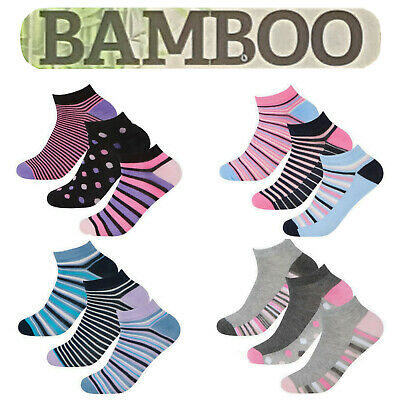 6 3 Pairs Womens Designed Bamboo Trainer Socks Ladies Sports Gym Ankle Liner 4-7