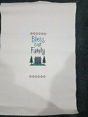 COMPLETED FINISHED CROSS STITCH HOME SWEET HOME BLESS THIS HOME THERE/'S NO