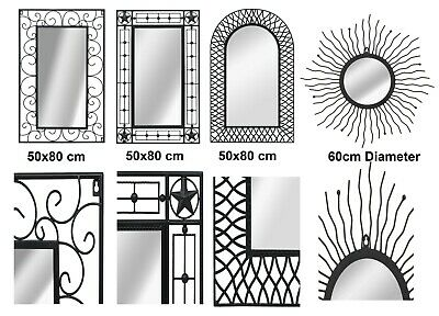 Indoor Outdoor Antique Style Rectangle Arch Wall Glass Mirror Iron Frame 50x80cm