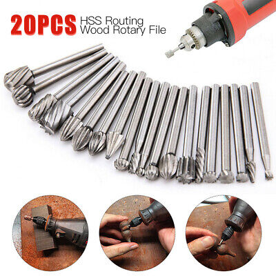 UK 20Pcs 3mm Solid Carbide Burrs Set Rotary Tool Drill Die Grinder Carving Bit