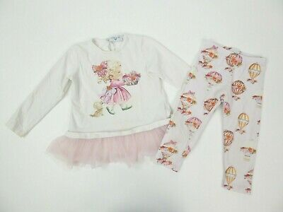 Girls Monnalisa Dress & Leggings Set Age 2 Yrs
