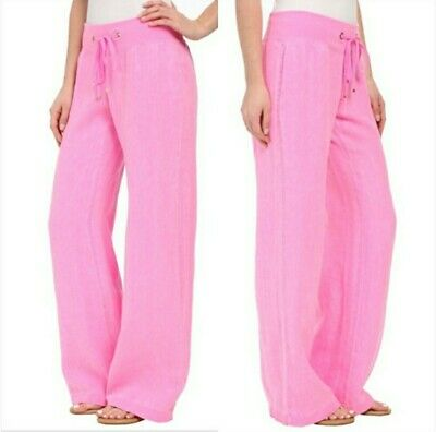 Lilly Pulitzer Pink Linen Beach Pants Wide Leg Size XS