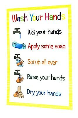 Wash Hands Hand Washing Poster Childminder Nursery Playgroup Ofsted A4 Kids