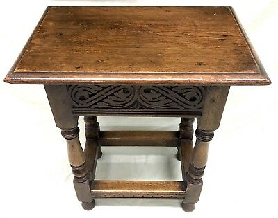 Superb Antique Carved Oak Joint Stool / Occasional Table / Lamp Stand (67)
