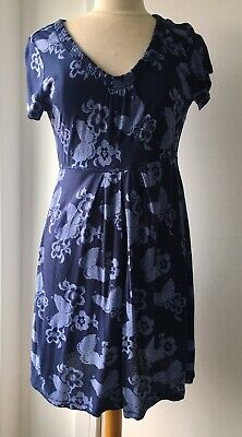 Ex Fat Face Black Floral Printed Round Neck Tunic Dress Size 6-14