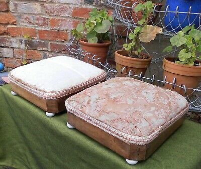 Pair Victorian Walnut Footstools~White China Feet~For Resto And Re-Covering