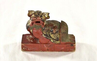 Antique Chinese Multicolored Wooden Carved Statue Fu / Foo Dog, Lion