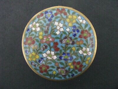 Antique Chinese Cloisonee Box Round Trinket Pill Patch Mirror Hinged Orig Label