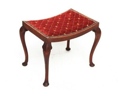 Antique Mahogany Upholstered Foot Stool [5962]