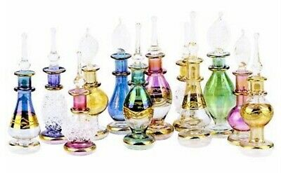 Egyptian Perfume Bottles Set of 10 Decorative Blown Glass Essential Viles #K-21