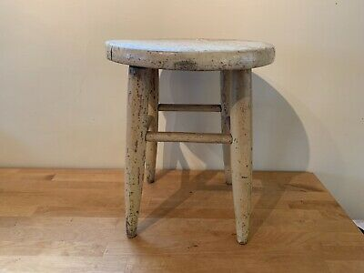 Antique Vintage Primitive Wooden Milking Stool Stand Chippy Shabby Yellow Paint