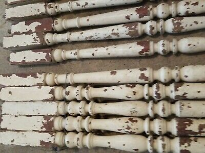 "16 vintage Victorian Era Painted Porch balustrade railing Spindles 33"" Antique"