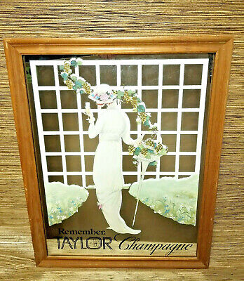 VTG Taylor Champagne Bar Mirror Woman in Dress Framed Home Decor NY
