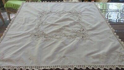 Vintage Beige Embroidered & cutout work  & Crocheted Tablecloth 89  x 86 cms