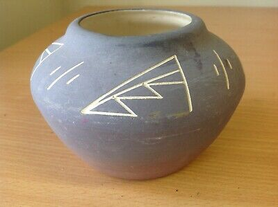 Native American Sioux Indian Pottery - Traditional Vase - Signed Coyote