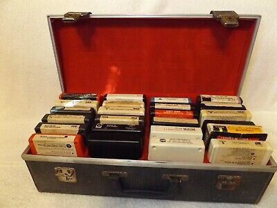 Vintage 8 Track Tapes 24 Assorted Tapes In Carrying Case Various Artists