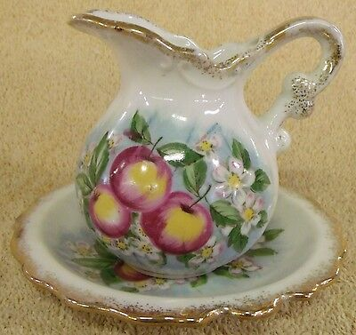 Vintage Collectibles Hand Painted Apples Mini Pitcher & Bowl Great Patina