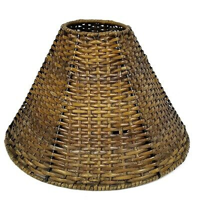 "Vintage Rattan Lamp Shade Boho Basket Weave Wicker 7""x 13"""