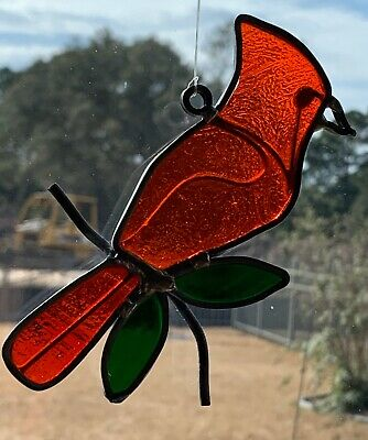 """Vintage Antique Leaded Stained Glass Red Cardinal Window Sun Catcher, 5"""""""
