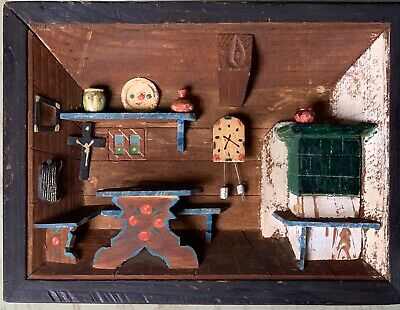 Antique Italy 3D Wooden Shadow Box Picture Diorama Kitchen-Rare