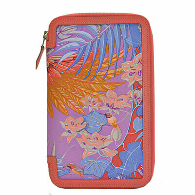 Auth HERMES Soie Cool Vision Agenda/Note Cover Multicolor Silk/Leather - 51724