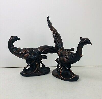 2 Ceramic Red Glaze Pheasant Figurines Bird Lover Nature Art Deco Hunting Cabin