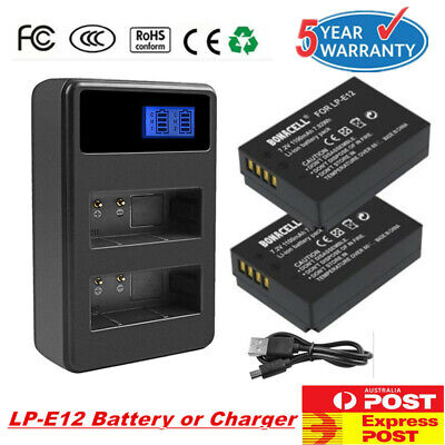 2X LP-E12 Battery or LCD Chager for Canon EOS M M10 M50 M100 Rebel SL1 Camera FP