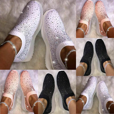 Ladies Glitter Knitted Sneakers Ladies Sparkle Slip On Trainers Sock Shoes Size