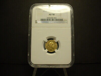 1718 Great Britain Gold 1/4 Guinea Ngc-Au-58 Certified! Very Rare Coin!