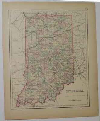 Original 1856 Colton's Indiana Map,Counties,Roads,Railroads,Canals,Towns,Plats