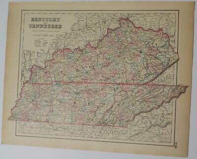 Orig. 1855 Colton's Kentucky & Tennessee Hand-Colrd Map,Counties,Railroads,Roads