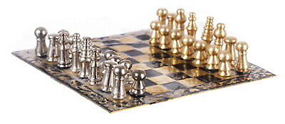 Doll House Miniature Vintage Silver Gold Chess Set Toy Scale Pretend 1//12th W4D5