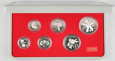 Singapore 1985 6 Coin Sterling Silver Proof Set +BOX & COA (1 Cent to $1) Scarce
