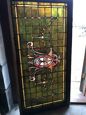 Sg 3300 Antique Stained Glass Jeweled Transom Window 27 x 54